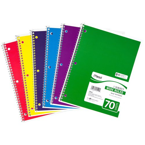 51LewX 3ziL. SL500  Mead Spiral Notebook, 4 Pack, 1 Subject, 70 Count, Wide Ruled, Assorted Colors (72873)