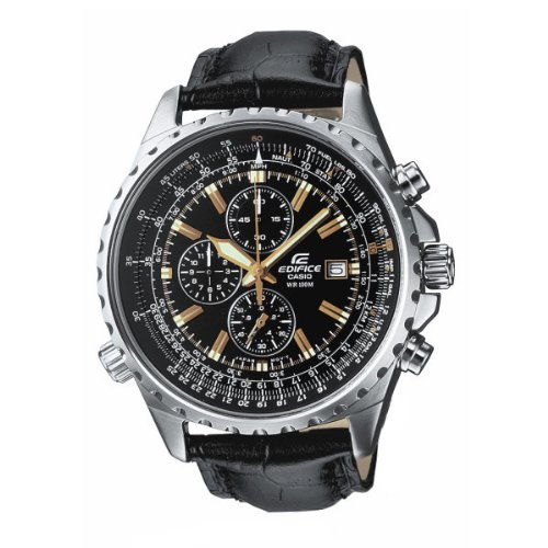 Casio Edifice EF-527L-1AVEF Men's Analog Quartz Watch with Chronograph, Black Leather Strap and Date Indicator