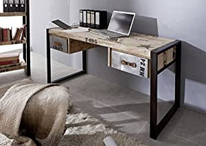 Massivholz Möbel bedruckt Industrial-Stil Mangoholz Schreibtisch vollmassiv Eisen Factory #124