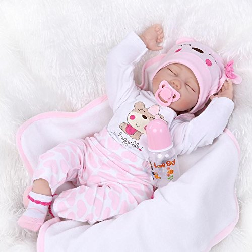 SanyDoll Reborn Baby Doll Soft Silicone vinyl 22inch 55cm Lovely Lifelike Cute Baby Boy Girl Toy Pink sleeping baby doll cute girl