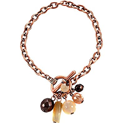 Alexa Starr Copper Chain Toggle Bracelet With Cluster Of Semi-precious Carnelian