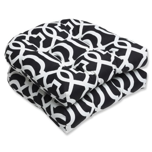Pillow Perfect Outdoor New Geo Wicker Seat Cushion, Black/White, Set of 2 photo