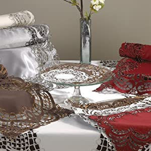 Embroidered And Cutwork Design Elegant Doily. 100% Polyester Woven. Grey, 8 Inch Round. Four pieces .