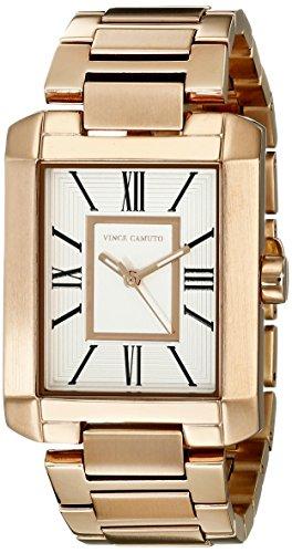 Vince Camuto para mujer reloj infantil de cuarzo con esfera analógica blanca y correa de acero inoxidable de oro rosa y cristales VC-5228SVRG