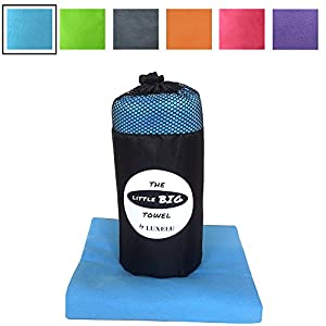 LARGE MICROFIBRE TOWEL - Sky BLUE - 150cm x 80cm - The perfectly sized LITTLE BIG Towel by Luxelu - Highest quality, super soft, fast drying towel in a cool stuff sack carry pack. For Travel, Swimming, Gym, Sports, Camping, Beach, Yoga, Golf (blue)