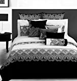 Diaidi Classic Damask Black And White Duvet Cover Bedding Set,4Pc,Queen Size Comforter Sets