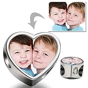 Personalized Charms add your own photo custom Heart Photo Charm Beads Charms Bracelet
