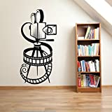 HUANYI MOVIE CAMERA FILM REEL HOME CINEMA VINTAGE THEATRE Vinyl Wall art sticker decal