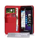 Blackberry Z10 Case Red PU Leather Wallet Coverby Yousave Accessories