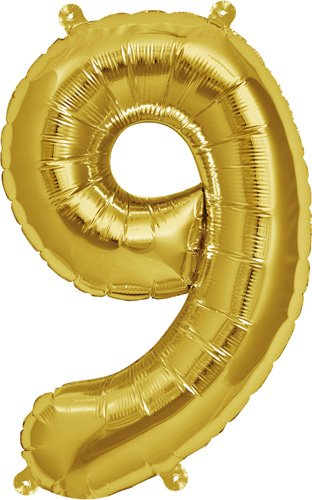16 inch Number 9 - Gold Air-Filled Foil Balloon