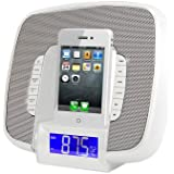 Pyle-Home Docking/Aux Input Clock Radio with FM Receiver and Dual Alarm Clock for iPod/iPhone PICL29W (White)