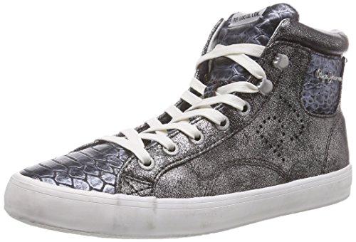 Pepe Jeans CLINTON SNAKE METALLIC, Sneaker alta donna, Argento (Silber (934SILVER)), 38