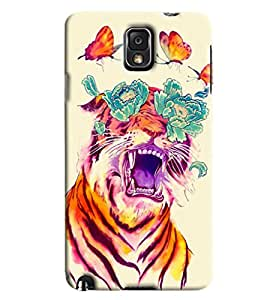Blue Throat Tiger And Butterfly Combi Printed Designer Back Cover For Samsung Galaxy Note 3