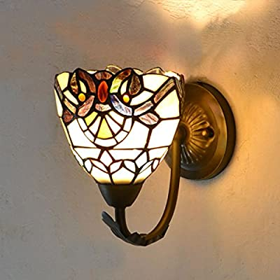 Tiffany Uplights/Downlight Colorful Glass Bedroom Bedsides Wall Lamp Bathroom Mirror Front Metal Wall Sconce Corridor Cabinet Washroom Wall Lighting Fixtures