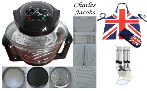12 LTR Halogen Oven Cooker in BLACK+ COOK BOOK, accessories includes extender ring, lid holder, low rack, high rack, forks, frying pan, tong, steamer - worth £60 + 2 YEAR WARRANTY + ULTIMATE PACKAGE: UTENSILS, APRON AND GLOVES SET WORTH £30 INCLUDED