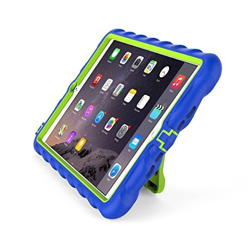 Gumdrop Cases Apple iPad mini 4 - Hideaway with Stand - Royal Blue - Lime - Silicone - Rugged Shock Absorbing Protective Dual Layer Cover Case