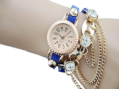 Dayan Fashion Women'S Watch Diamond Decor Bracelet Bohemian Blue