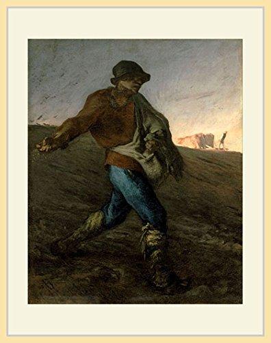 ミレー・「種蒔く人 [Jean-Francois Millet - The Sower]」 プリキャンバス複製画・ 額付き(デッサン額/大衣サイズ/木地色) -