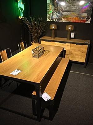 Esstisch Schreibtisch 180 cm Loft Industrial Design Eiche natur Holz Metall Wohnzimmertisch Tisch chic