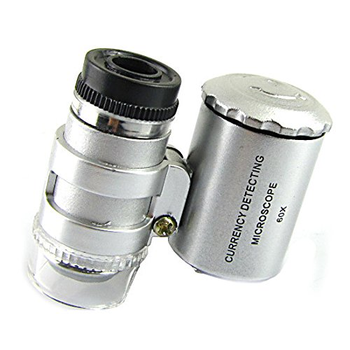 Mini 60X Loupe Led Uv Light Microscope Magnifier For Jewelry Currency Detection