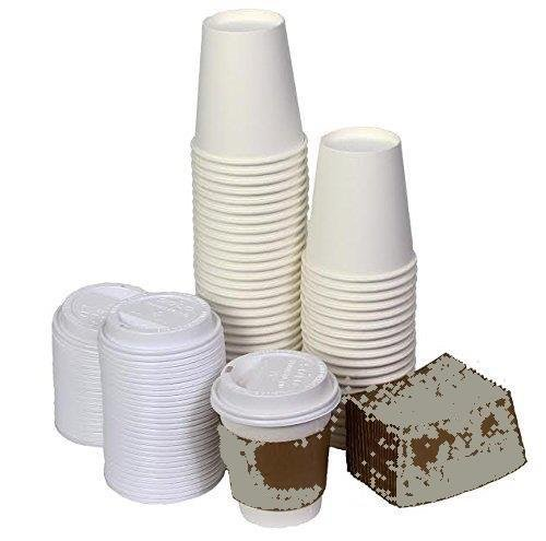 NYHI 10 Ounce Paper Hot Cups with Lids and Cup Sleeves Pack of 50