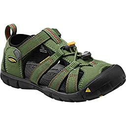 KEEN Seacamp II CNX Sandal (Little Kid/Big Kid), Bronze Green/Chili Pepper, 1 M US Little Kid
