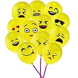 12インチ Emoji絵文字バルーン 黄色 ラテックス笑顔表情模様の風船(100個) ランキングお取り寄せ