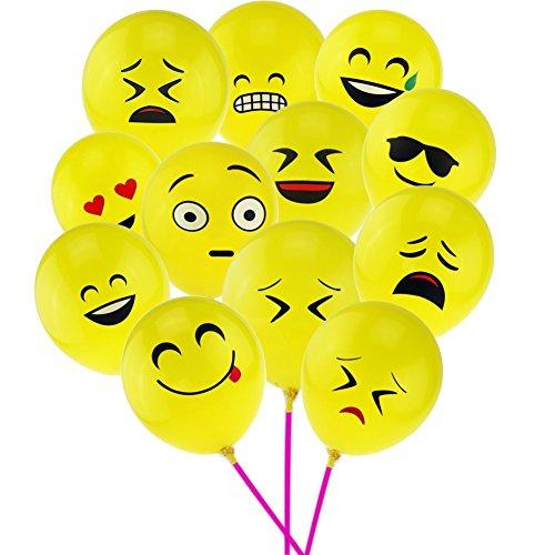 12インチ Emoji絵文字バルーン 黄色 ラテックス笑顔表情模様の風船(1...