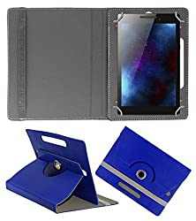Gadget Decor (TM) PU Leather Rotating 360° Flip Case Cover With Stand For Iball Performance 3G 7334i - Dark Blue