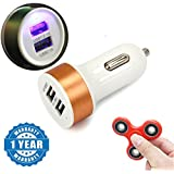 Captcha Nokia XL Compatible Certified Dual Usb Car Charger Compact & Fidget Hand Metal Spinner (1 Year Warranty)