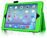 InventCase Apple iPad Air Tablet (1st Generation - 9.7-Inch) 2013 Smart Multi-Functional Leather 2-Fold Case Cover with Sleep Wake Function - Green