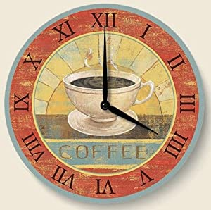 Fresh brew coffee theme kitchen wood wall clock - Coffee themed wall clocks ...