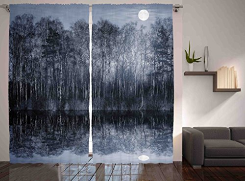 Ambesonne Nature Art Decor Collection, Peaceful Jungle By The Lake With Moon In Black And White Forest Landscape Print, Living Room Bedroom Curtain 2 Panels Set, 108 X 84 Inches, Monochrome Blue
