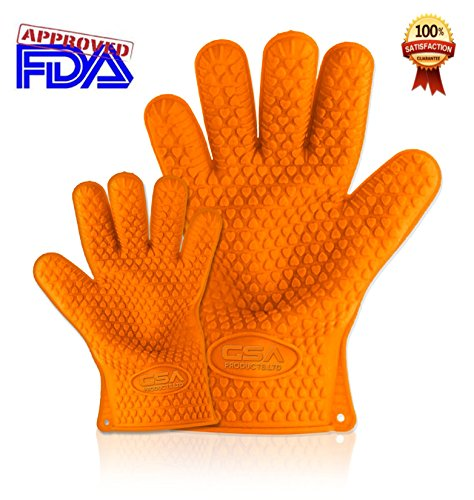 Heat Resistant Gloves Made Of Silicone - 100% Waterproof And More Than Just Oven Mitts. Use Them On A Barbecue Smoker Or Barbecue Grill For Cooking Tasty Chicken And Meats. Perfect For Taking Lobster From Boiling Water. Made With Fingers To Make It Easy O