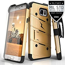 Galaxy Note 5 N920A Case, Zizo Bolt Cover [.33mm 9H Tempered Glass Screen Protector] Included [Military Grade] Armor Case Kickstand Holster Clip