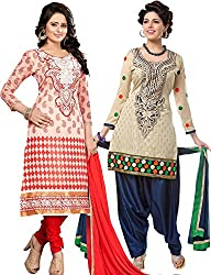 The Fashion World Combo of Beige & Red Chanderi Embroidery Worked Dress Material