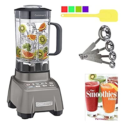 Cuisinart CBT-2000 Hurricane 3.5 Peak Horsepower High Power Blender with Smoothies Bible & Measuring Spoons & Spatula Bundle