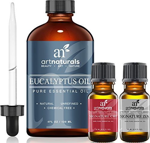 Art Naturals Eucalyptus Essential Oil 4.0 oz 3pc Set - Includes Our Aromatherapy Signature Zen & Chi Blends 10ml Each Therapeutic Grade 100% Pure & Natural Oils Review