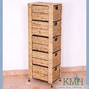 korb kommode mit 5 schubladen aus wasserhyazinthe rattan kommode korb regal. Black Bedroom Furniture Sets. Home Design Ideas