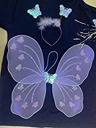 Fairy Butterfly Wings Costume for Baby Girl Angel for Birthday Party Gift (Purple)