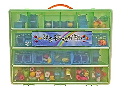 Shopkins Compatible Organizer - My Shoppin Bin Is The Perfect Shopkins Compatible Storage Box - Fits Up To 200 Characters, Up To 50 Shopping Bags and 8 Shopping Baskets - Sturdy Case And Carrying Handle- (Lime) by Life Made Better