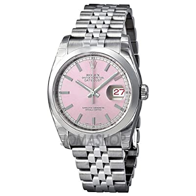 Rolex Datejust Pink Dial Stainless Steel Jubilee Bracelet Mens Watch 116200PSJ