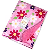 Baby Bucket Double Layer Velvet Fleece Newborn Printed Baby Blanket (L.PINK FLOWER)