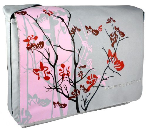 Pink Sparse Tranquility 15.4 inch Laptop Padded Compartment Shoulder Messenger Bag for K-Cliffs Lifestyle