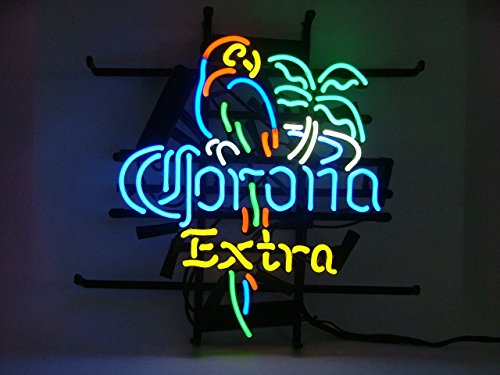 Corona Extra Parrot Bird Right Palm Tree Beer Bar Pub Hand-Made Real Glass Neon Light Sign 19X15 Inches