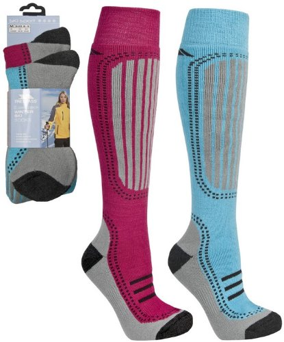 Trespass Janus Tech Ski Socks (Blue Water/Sangria) - 2 Pair Pack (Size adult 6-9)