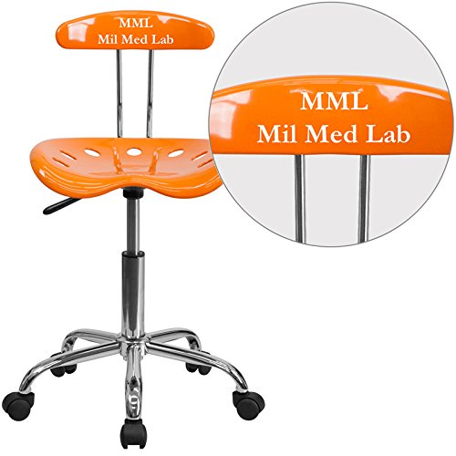 "Personalized Vibrant And Task Chair With Tractor Seat Orange/Chrome/16.5""L x 17""W x 34.75""H"