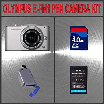 Olympus PEN E-PM1 Digital Camera (Silver) W/14-42mm Lens + Huge Accessories Package Including 4GB SDHC Memory Card + High Capacity BLS-1 Replacement Lithium-Ion Battery + Hi-Speed SD Card Reader + Kit sale off 2014