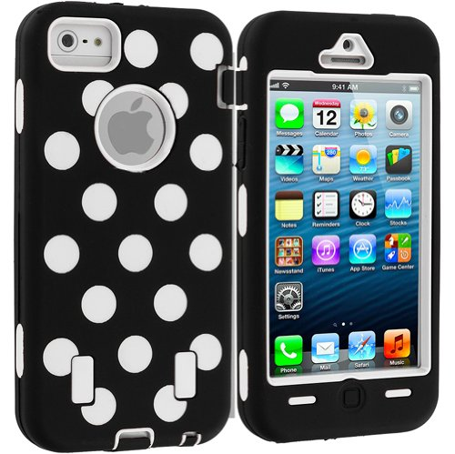Accessory Planet(Tm) White Polka Dot Hybrid Heavy Duty Deluxe Hard/Soft Case Cover With Built In Screen Protector For Apple Iphone 5 / 5S