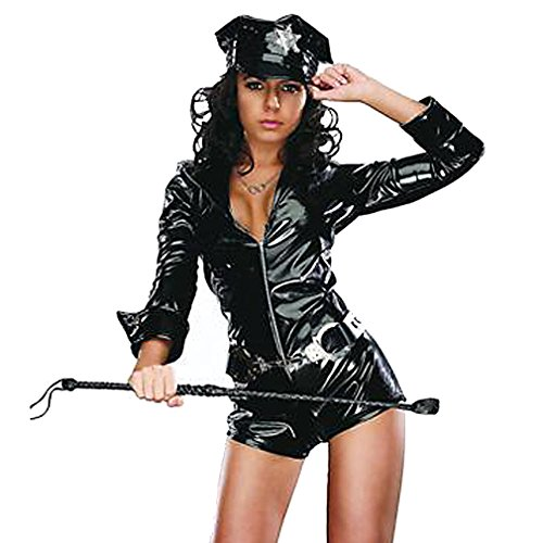 Q-Lingerie, Women's Black Lady Police Costume Zip Romper Handcuff Belt Hat CS35